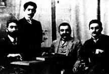 Hummet leaders (1904-05), from left, Meshadi Azizbekov, Nariman Narimanov, unknown, Mammad Amin Rasulzade