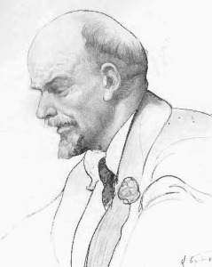 V.I. Lenin in 1920, drawing by Isaak Brodsky