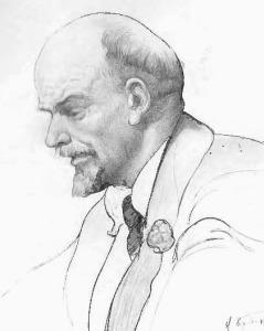 V.I. Lenin in 1920, drawing by Isaak Brodsky